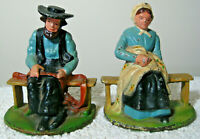 """Vintage 5"""" Pair of Cast Iron Book Ends / Door Stops Amish Man & Woman 4.5 lbs."""