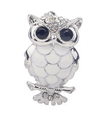 Cute Big Eye Silver Tone Crystal Enamel Feather Owl Bird Fashion Pin Brooch