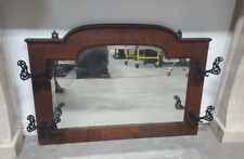 Early 1900's American 4 Hook Wall Coat Hat Rack With Beveled Mirror Fancy Hooks