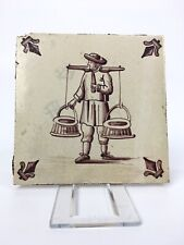 """Fliese Kachel Delft Dutch Tile Keramik """" Personen mit Eckdekoration """""""