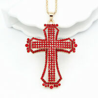 Betsey Johnson Jewelry Crystal Rhinestone Cross Pendant Sweater Chain Necklace