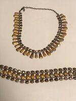 """Vintage 1950's Renoir Matisse Yellow Enamel Copper Necklace & Bracelet 16"""""""