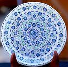 "14"" Antique Marble-Round-Serving use Plate makrana Mosaic Inlay Decor Art"