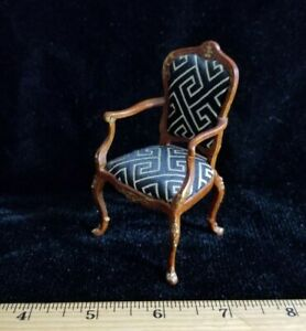 1:12 Dollhouse Miniature ~ Lovely Ornate Wood Chair with black & silver fabric