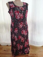 ROSE Floral dream pleat LAYERED Overlay DRESS size 16 + jewelled necklace NEW