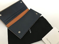 Paul Smith Large Purse Pebbled Leather Taupe Blue & Orange  Made in Italy