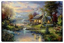Quadro moderno arredo soggiorno THOMAS KINKADE K2- baita favola 100x60 dipinto