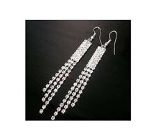 Large Silver tassel Crystal Diamante/Diamonte stud Rhinestone Earrings