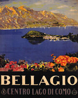 POSTER BELLAGIO CENTER OF LAKE COMO ITALY TRAVEL TOURISM VINTAGE REPRO FREE S/H