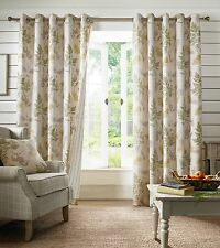 Designer Sycamore Eyelet Ring Top Fully Lined Curtains - Sage Green or Teal Blue