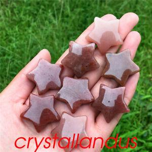 5pc Natural strawberry crystal star pendant quartz crystal pentagram healing