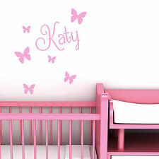 Personalised Name Butterfly Wall Art Custom Girls Bedroom Vinyl Kids Sticker
