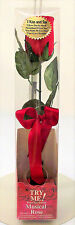 """Talking Rose Valentine One 12"""" Red Rose with/ Red Ribbon Tested Mint"""