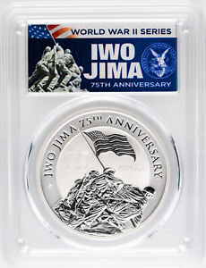 2020 $1 Iwo Jima 75th Anniversary 1oz Silver Coin PCGS MS70 First Day of Issue