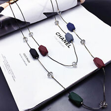 Double Layers Geometry Beads Necklace Long Sweater Chain Women Ornament Dreamed