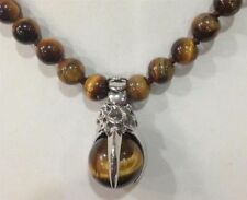 "8MM GENUINE TIGER EYE GEMS STONE ROUND BEADS NECKLACE&PENDANT 18"" JN95"
