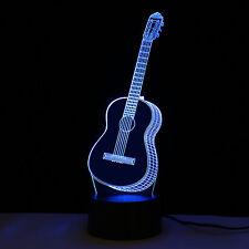 3D Guitar Music Home Decoration Night Light Colour Change Bar Shop Restaurant