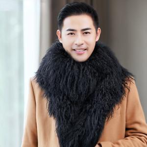 Men's Fur Scarf Sheep Fur Sheepskin Collar Warmth Double-sided Black Winter Bibs