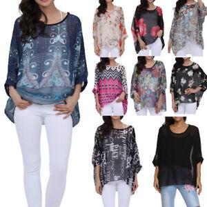 Plus Casual Women's Lagenlook Floral Loose Fit Batwing Blouse Kimono Top Kaftan