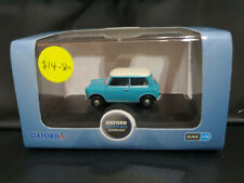 Oxford Diecast 76MN008 Austin Mini Cooper Surf Blue and Old English White 1/76