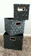 Set of 3 Large Storage Baskets Soft Seagrass/wicker Black Copper NEW