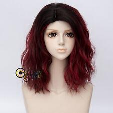 35CM Lolita Ombre Black Dark Red Curly Halloween Cosplay Wig Heat Resistant+Cap