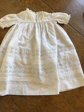 Vintage Embroidered Baby Dress White Cotton