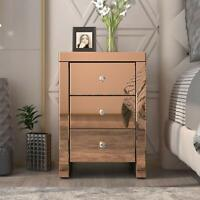 Accent Side Table Golden Finished Nightstand Mirrored End Table with 3 Drawers