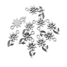 10pcs Daisy Beads Tibetan Silver Charms Flowers Pendant DIY Bracelet 10*19mm