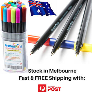 Home School Supplies Fineliner Pens, 24 Bright Colours -No Smell Water Based Ink