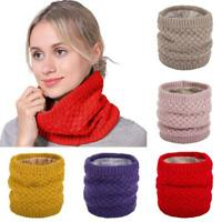 Frauen Winter Gestrickte Halswärmer Kreis Wrap Wollgarn Cowl Loop Snood Schal-