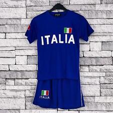 Italia Football Summer Shorts Boys Outdoor New Girls Top PE Kit Set Size 4-13