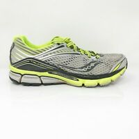 Saucony Mens Triumph S20223-4 Gray Neon Yellow Running Shoes Lace Up Size 10