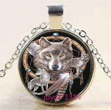 Wolf Dreamcatcher Cabochon Tibetan silver Glass Chain Pendant Necklace #3773