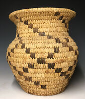 Vintage 20th C. (1940's-1960) Papago Geometric Native American Basket Container