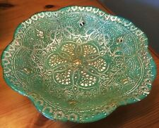 "Azzurra Decorative Handmade Turkish Glass Bowl Green & Gold approx 8"" Diameter"