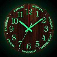 Luminous Modern  Wall Clock 12 Inch Wooden Silent Clocks With Night Light Decor