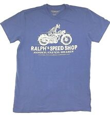 $95 POLO RALPH LAUREN Mens BLUE WHITE SPEED SHOP BIKE CREW NECK T SHIRT TEE M