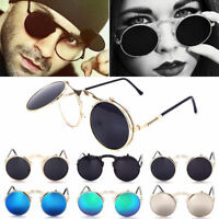Fashion Retro Vintage Gothic Round Flip Up Sunglasses Steampunk Glasses Goggles