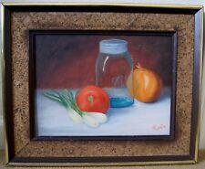 Ruth Costa VTG Still Life Original Oil Painting Wood Frame MASON JAR Onions