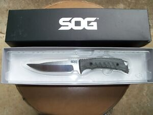 SOG Pillar Fixed Blade Knife - UF1001BX w/ Custom Made Leather Sheath