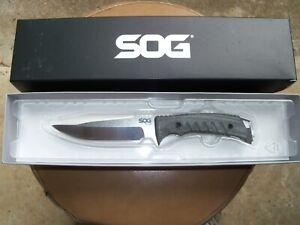 SOG Pillar Fixed Blade Knife - UF1001BX w/ Custom Made Leather Sheath