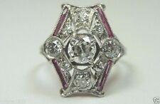 Antique Art Deco Vintage Diamond Engagement Ring Platinum Ring Size 5 EGL USA