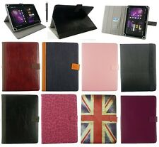 """Universal Multi Angle Wallet Case Cover Folio for 9.7"""" & 10 inch Tablet + Stylus"""