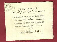 Tassa delle Spoglie - Ricevuta Settecentesca di Soldi Undici 1795