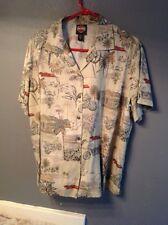Hot Vintage Harley Davidson  XL Motorcycles Palm Trees Tan  Hawaiian Mens Shirt