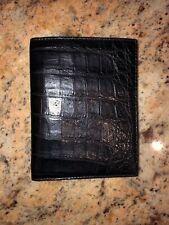 Coach Alligator Skin Leather Passport Holder Black