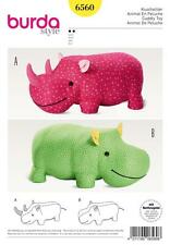 BURDA SEWING PATTERN RHINO OR HIPPO BIG STUFFED ANIMALS FOR LITTLE KIDS 6560