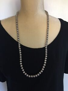 """Vintage Sterling Silver 925 Navajo Pearls Silver Beads Handmade Necklace 8mm 30"""""""