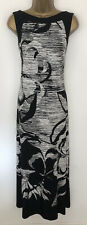Roman Maxi Dress Black White Stripe Floral Jersey Stretch Sleeveless Size 14